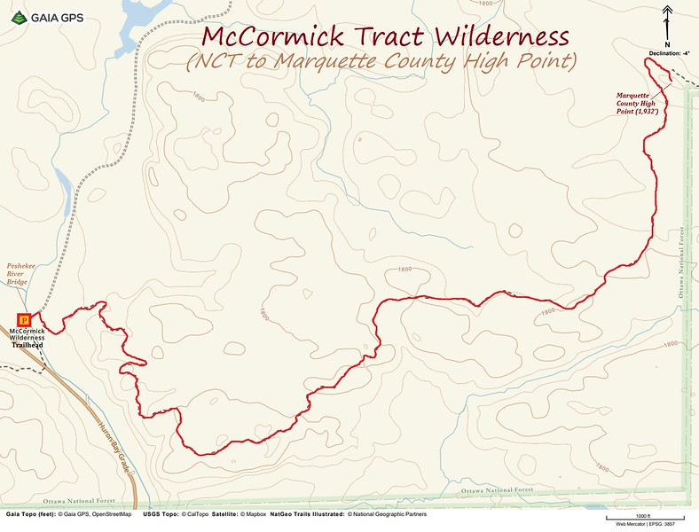 McCormick Tract Wilderness Hike Route Map