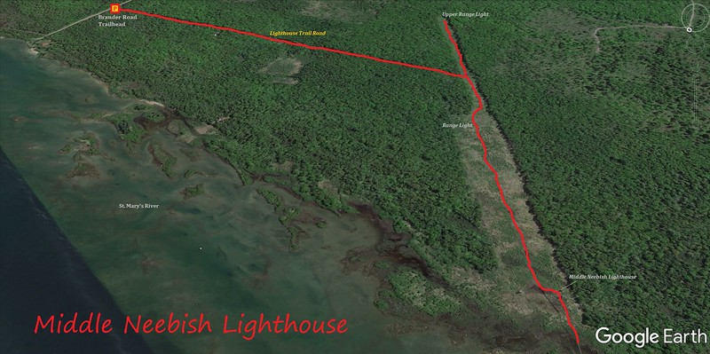 Middle Neebish Lighthouse Hike Route Map