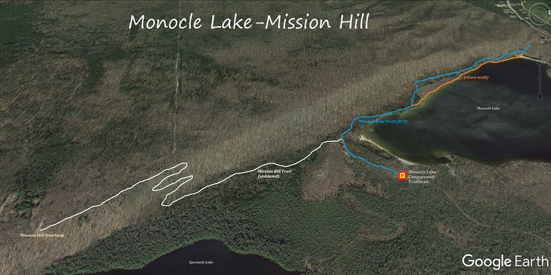 Monocle Lake-Mission Hill Hike Route Map