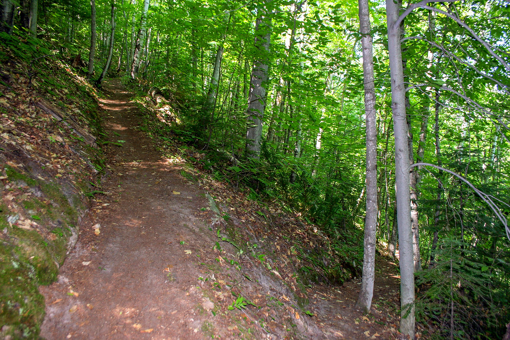 Beginning the climb up Mission Hill via a very strange feature on Michigan trails...a switchback!