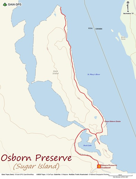 Osborn Preserve Hike Route Map