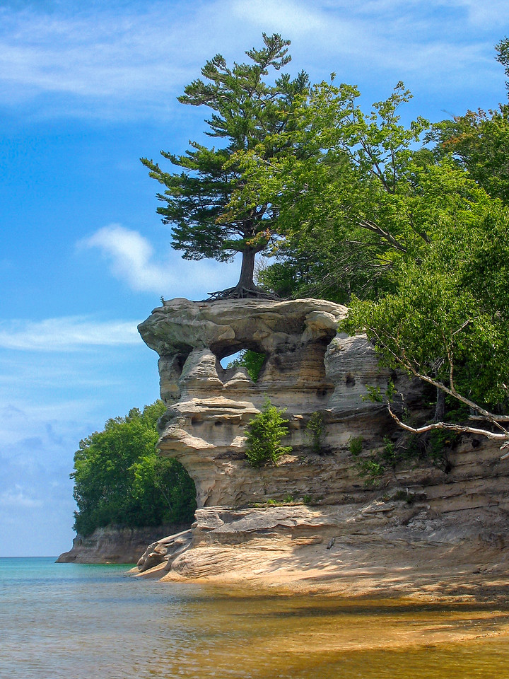 Chapel Rock with its famous pine...