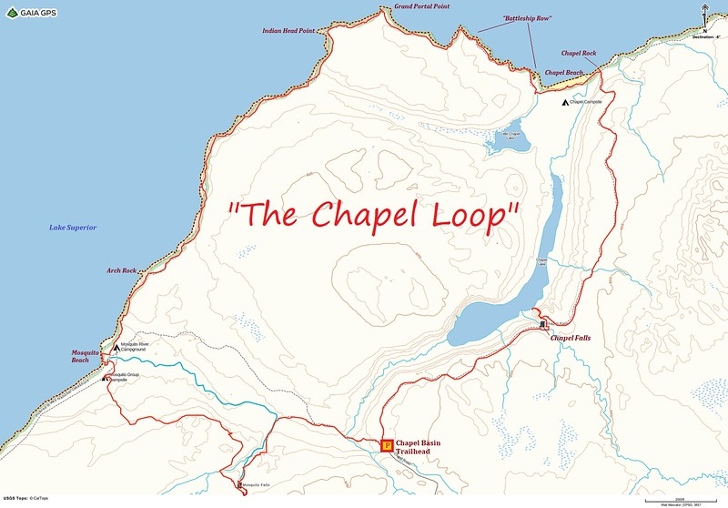 The Chapel Loop Hike Route Map