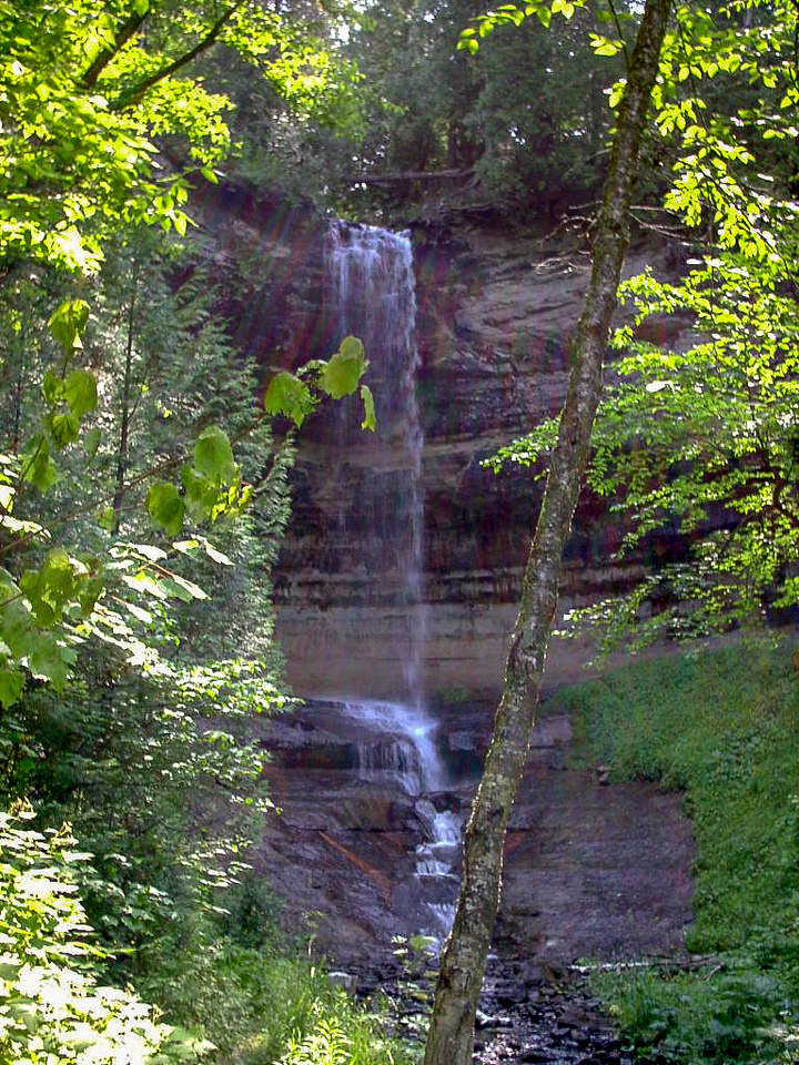 Day 1 - Munising Falls is at the end of an 800 foot side trail at the Lakeshore Trail trailhead. It drops about 75 feet off the Pictured Rocks Escarpment and is one of the more popular sites to see in Pictured Rocks.