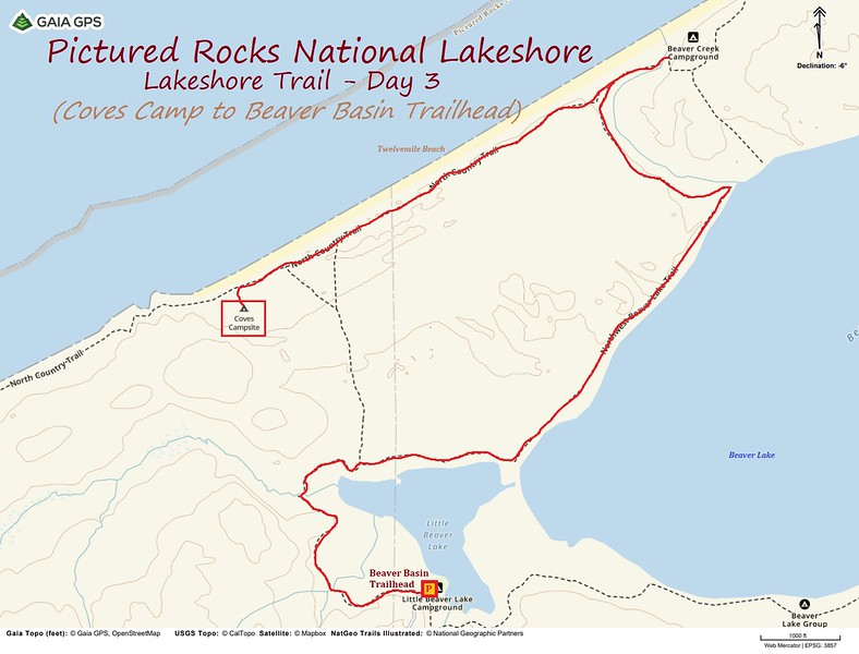 Lakeshore Trail Hike Route Map - Day 3
