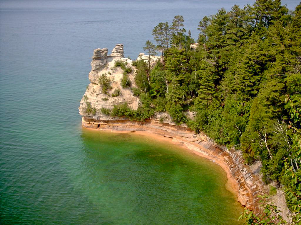 Day 1 - Miners Castle is perhaps the most famous of the Pictured Rocks landmarks. Here is the obligitory photo. It is beautiful but after 7 miles of solitude the crowds here can be bothersome.