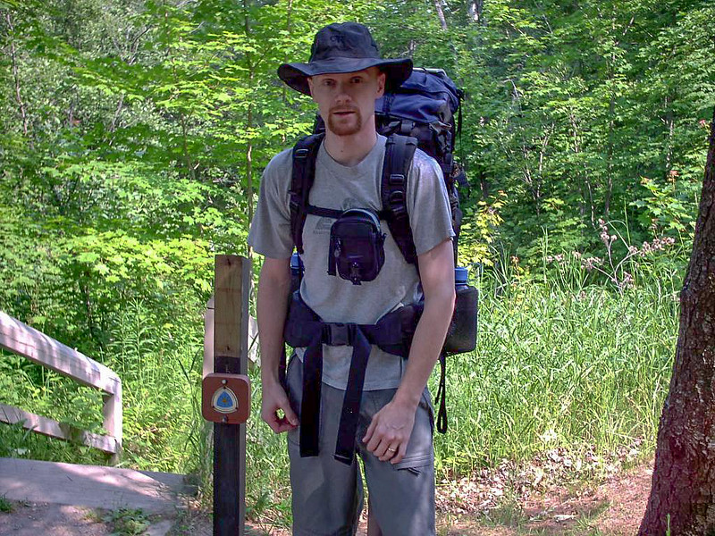 Day 1 - A shot of myself at the begining (or end) of the Lakeshore Trail at Munising Falls.