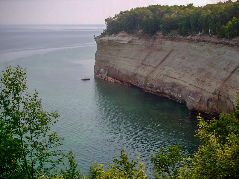 Day 2 - A mile or so north of Potato Patch you arrive at the beginning of high cliffs section of Pictured Rocks. The lake is a good 150 feet below here.