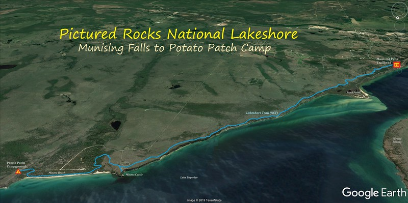 Lakeshore Trail Hike Route Map - Day 1