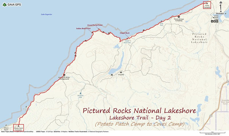 Lakeshore Trail Hike Route Map - Day 2