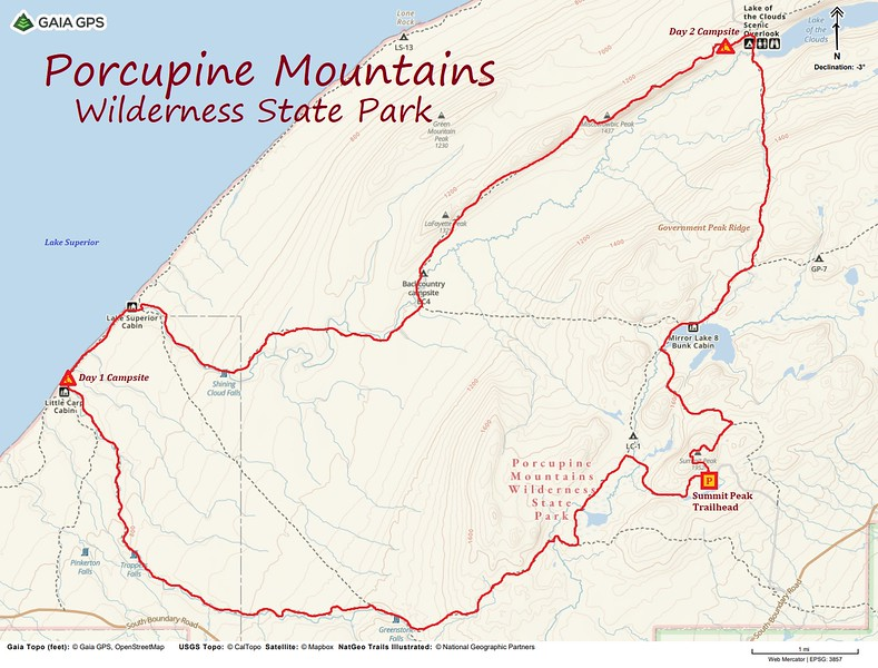 Porcupine Mountains Backpack Route Map