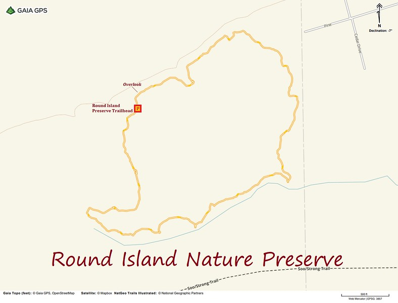 Round Island Nature Preserve Hike Route Map