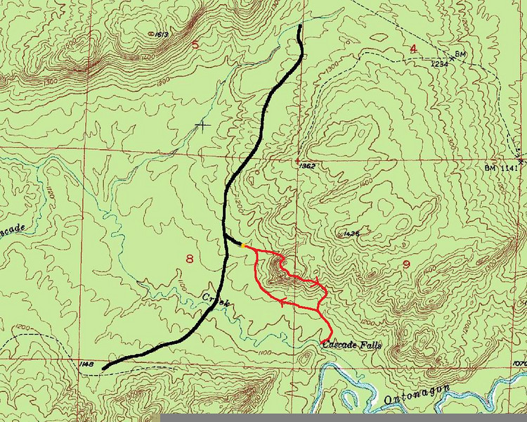Cascade Falls Hike Route Map