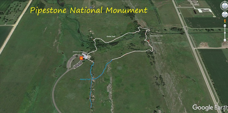 Pipestone National Monument Hike Route Map