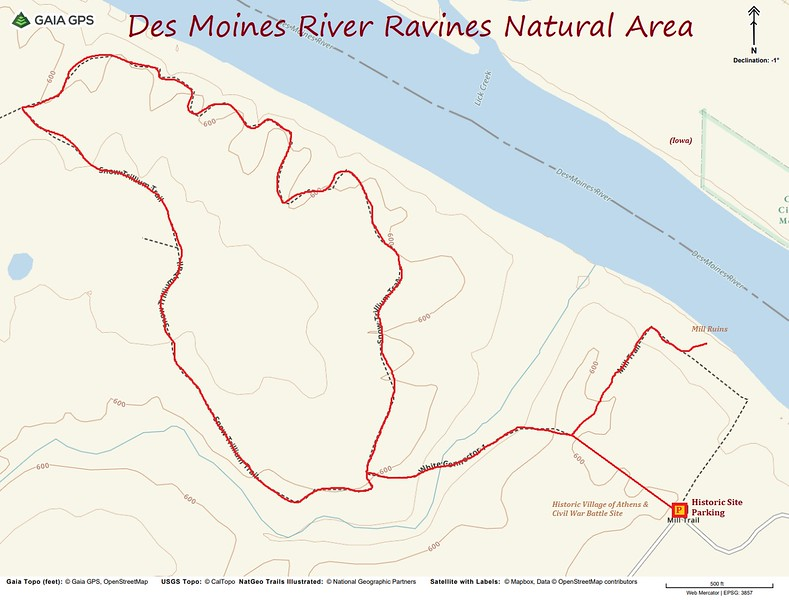 Des Moines River Ravines Natural Area Hike Route Map