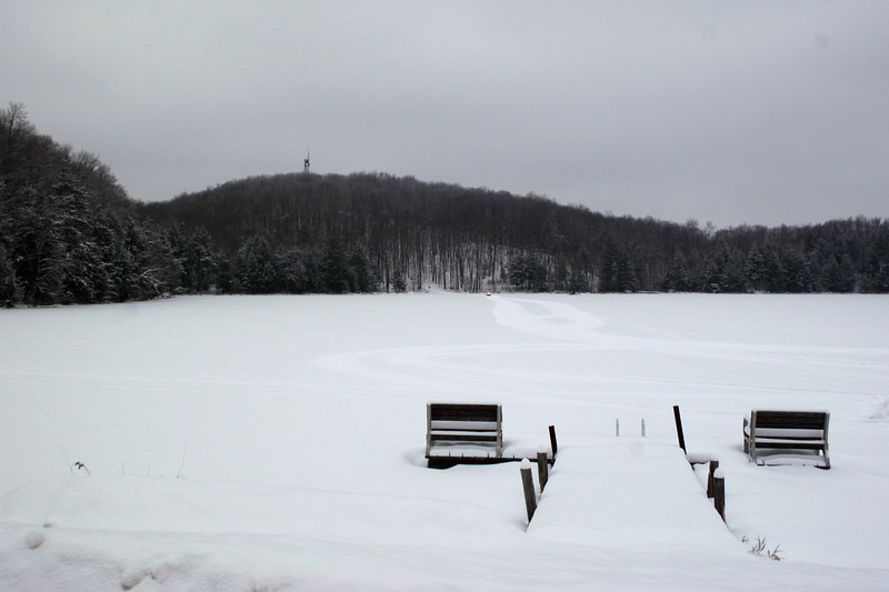 The snow had all but stopped by the time we left offering a much clearer look at Timms across Bass Lake.