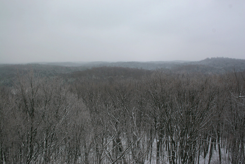 Looking south over the snowy Northwoods...