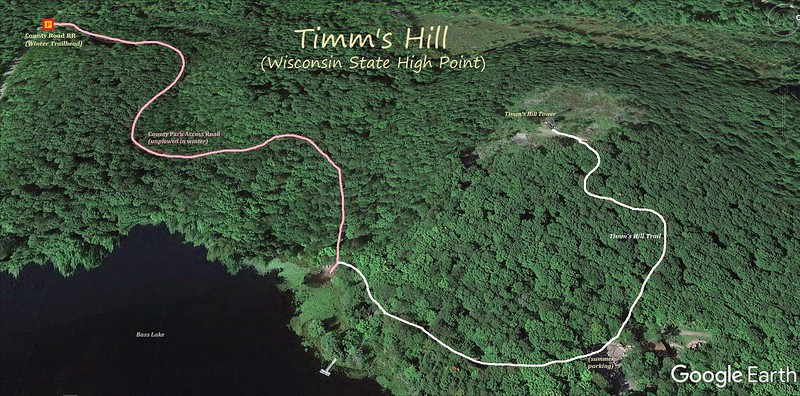 Timm's Hill (Winter) Hike Route Map
