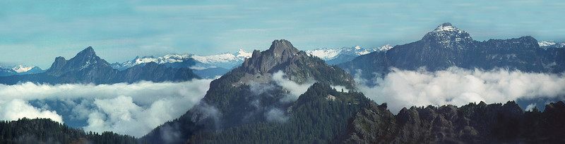 View from the summit of Mt. Dickerman. On left White Chuck Mountain,  Mt.Forgotten in the middle, Mt. Pugh to the right.