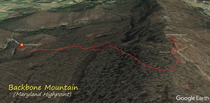 Backbone Mountain Hike Route Map