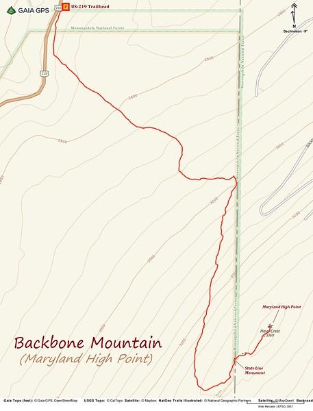 Backbone Mountain Hike Route Map
