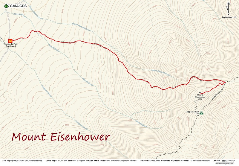 Mount Eisenhower Hike Route Map