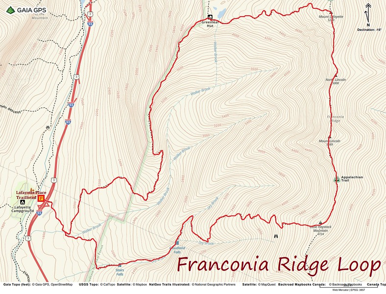 Franconia Ridge Loop Hike Route Map