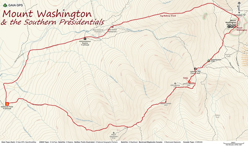 Mount Washington/Southern Presidential Loop Route Map