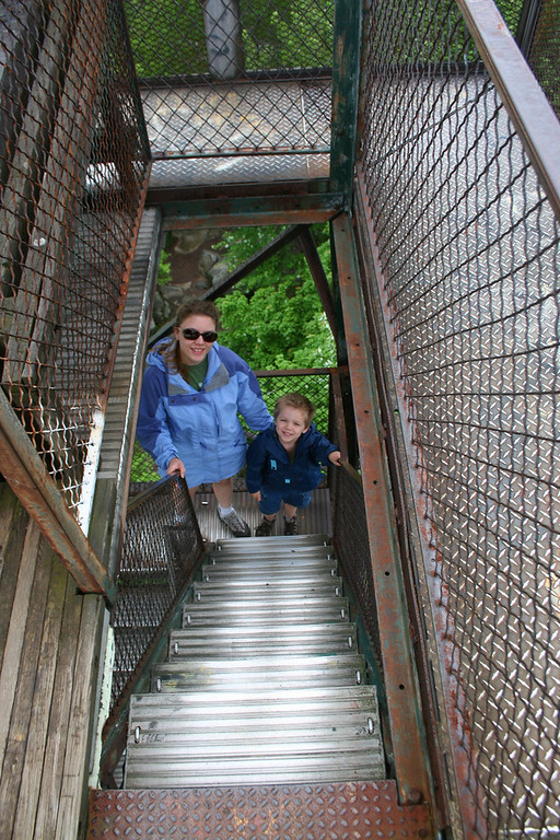 My wife and youngest, fearless, son Chris nearing the top...