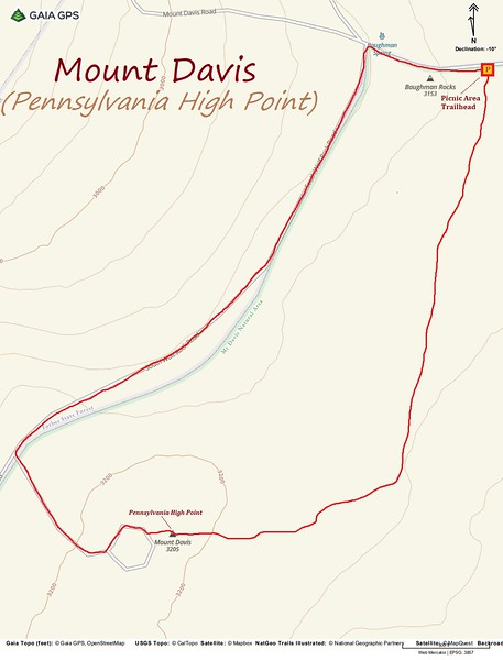 Mount Davis Hike Route Map