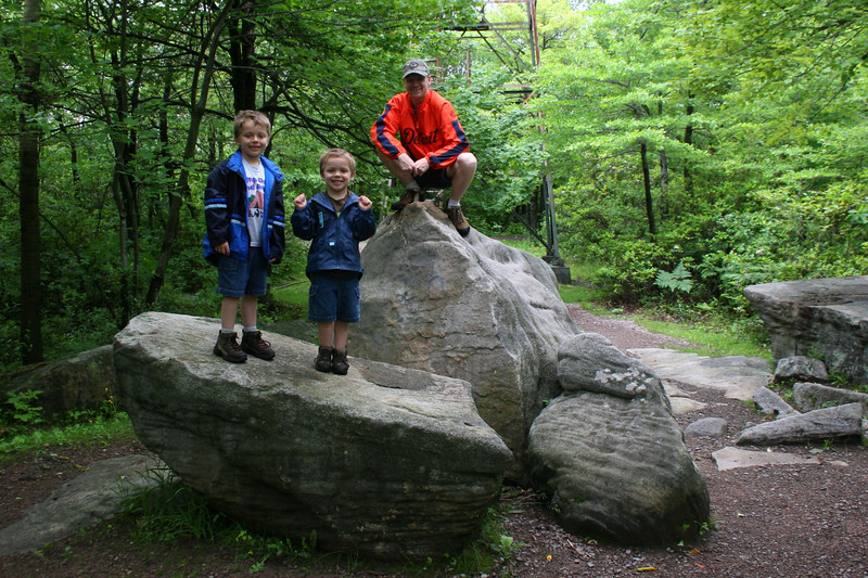 Me doing my ape-man pose with the kids on the summit rocks...