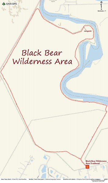 Black Bear Wilderness Loop Route Map