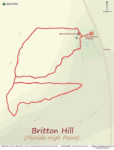 Britton Hill/Lakewood Park Hike Route Map