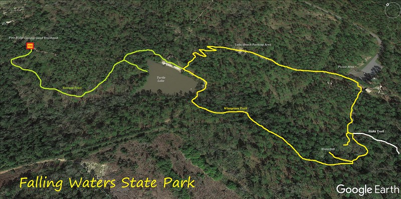 Falling Waters State Park Hike Route Map