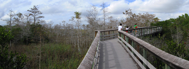 The trail quickly gains some elevation as it slants up to the elevated platform at the mid-point...