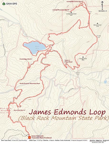 James Edmonds Trail Hike Route Map