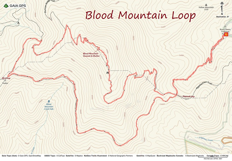Blood Mountain Loop Hike Route Map