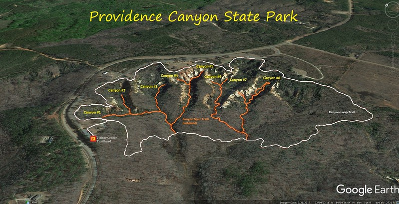 Providence Canyon Hike Route Map