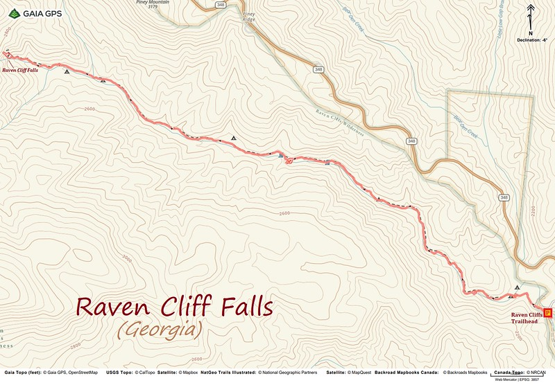 Raven Cliff Falls Hike Route Map