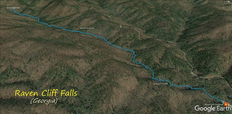 Raven Cliff Falls Route Map