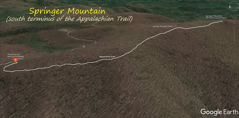 Springer Mountain Hike Route Map