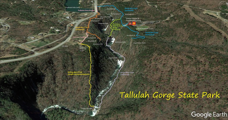 Tallulah Gorge State Park Hike Route Map