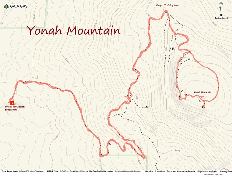 Yonah Mountain Hike Route Map