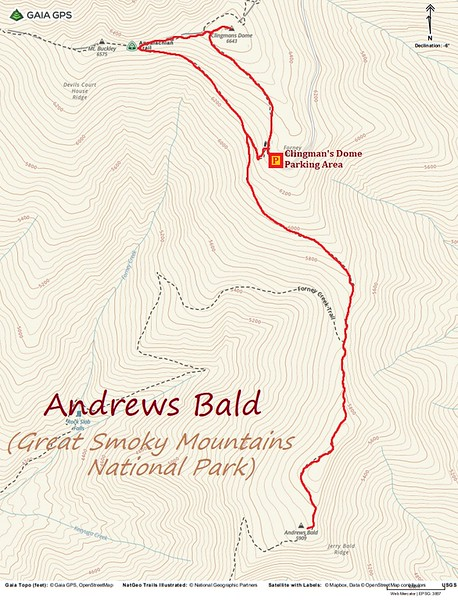Andrews Bald Hike Route Map