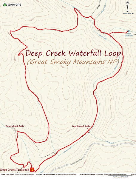 Deep Creek Waterfall Loop Hike Route Map