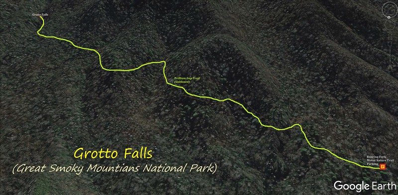 Grotto Falls Hike Route Map