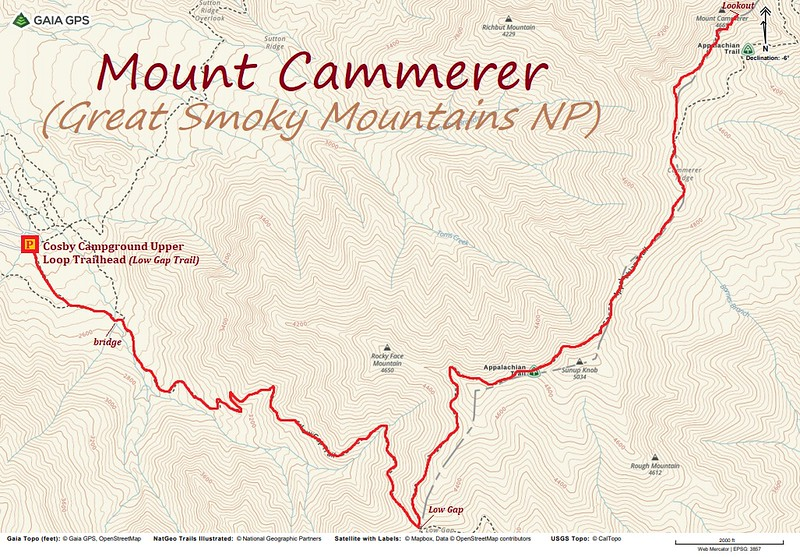Mount Cammerer Hike Route Map
