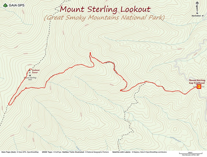 Mount Sterling Lookout Hike Route Map