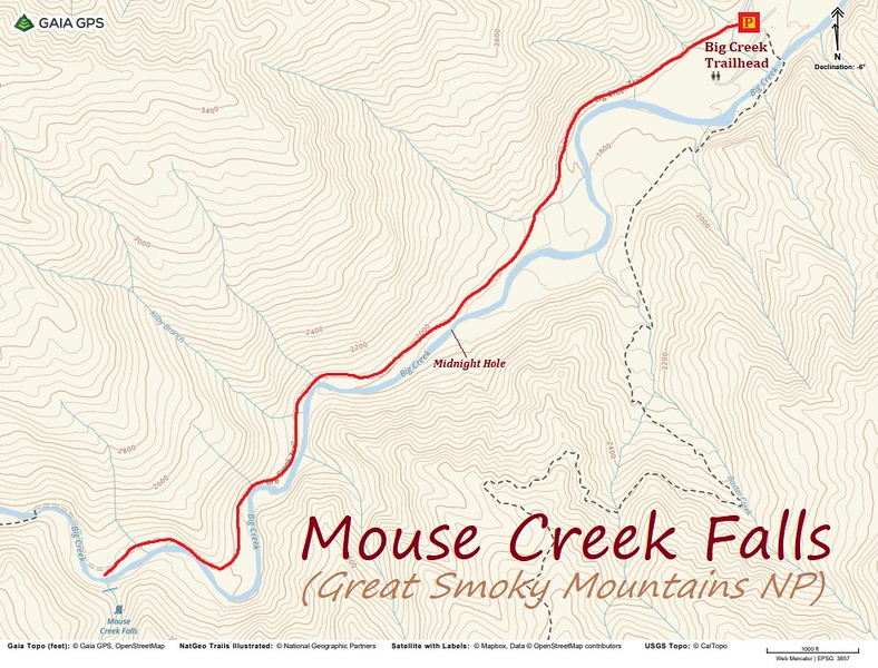 Big Creek to Mouse Creek Falls Hike Route Map