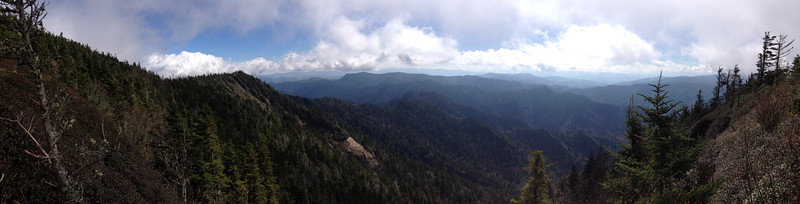 <b>6,550'</b> - From the same spot as the previous shot...looking south over the rugged heart of the Smokies.  Myrtle Point rises sharply to the left above the steep-sided valley known as Huggins Hell...